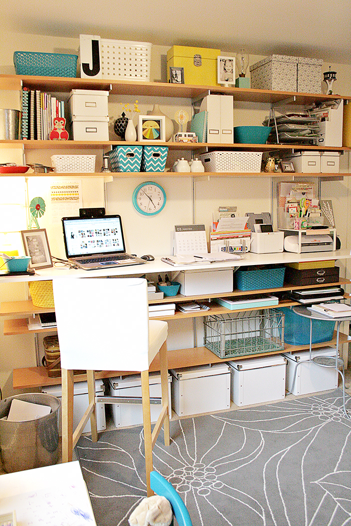 maggie mommy shared office playroom. After Pinning An Extra Large Batch Of Inspiration, We Went To Work Create A Standing Height Desk And Shelves Along One Wall In My Office. Maggie Mommy Shared Office Playroom Y